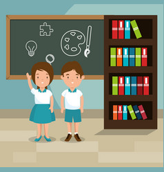 Students in the classroom characters vector