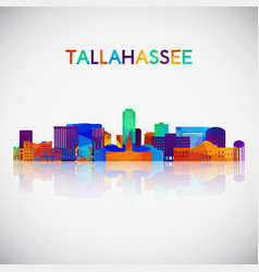 tallahassee skyline silhouette in colorful vector image