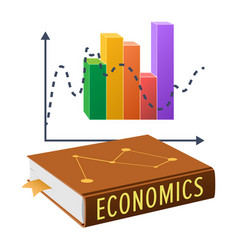 Textbook on economics and bright statistical chart vector