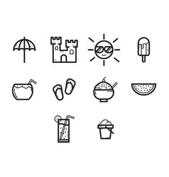 thin line summer season icon set vector image