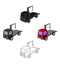 tow truck icon in cartoonblack style isolated on vector image