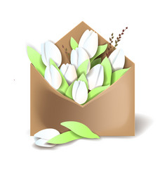 Tulips of white color in the paper envelope with vector