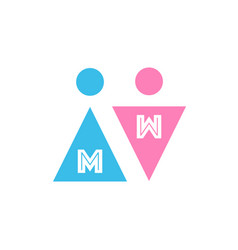 two icons with letters male and female gender vector image