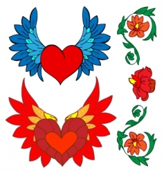 valentine set tattoo and renaissance vector image