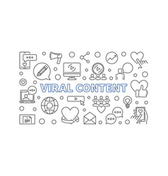 viral content concept outline horizontal vector image