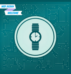 watch icon on a green background with arrows in vector image