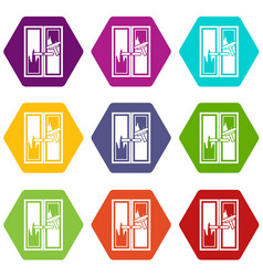 window cleaning icon set color hexahedron vector image