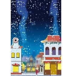 winter in little european town vector image