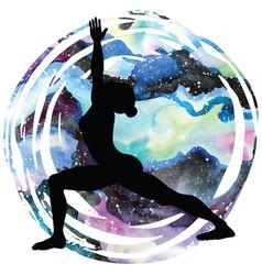 women silhouette warrior 1 yoga pose vector image