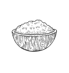 wooden bowl with food - sketch flour rice sea vector image
