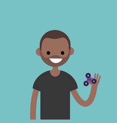 Young black character spinning a hand toy stress vector