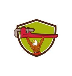 Bald Eagle Plumber Monkey Wrench Shield Cartoon vector image vector image