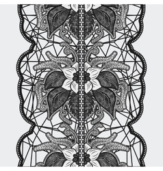 Black seamless lace ribbon on a light background vector image vector image