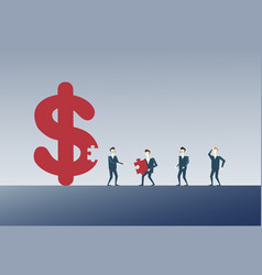 Business man collecting dollar sign with pieces vector