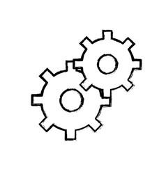 contour gears symbol process industry vector image