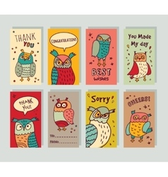Greeting card owls and signs set vector image vector image