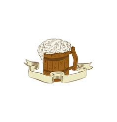 Medieval Beer Mug Foam Drawing vector image vector image