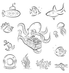 Octopus and the chest vector image vector image
