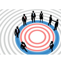 Business people on targeted marketing circle vector image