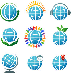 globes icons vector image vector image