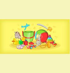 kids toys horizontal banner cartoon style vector image vector image