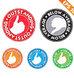 Stamp sticker performance review collection - vector