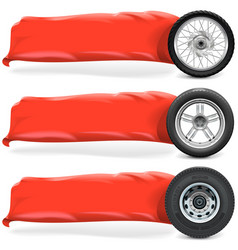 Wheels with Banner vector image