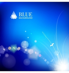 Blue background with a leaves glowing vector image vector image