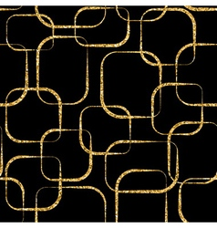 Gold crossing circled rectangles seamless pattern vector image