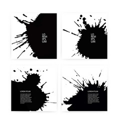 banner set with black ink splashes eps 10 vector image
