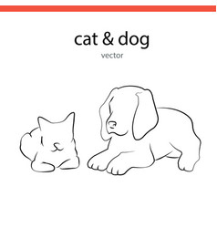 cat and dog silhouette lines vector image
