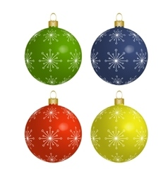 Christmas colorful balls isolated on white vector image vector image