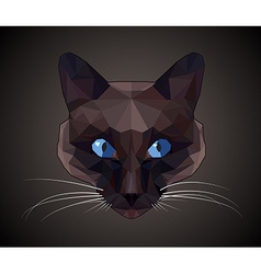 Dark cat with blue eyes - polygonal style vector