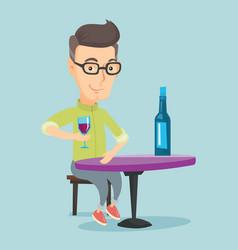 man drinking wine at restaurant vector image vector image
