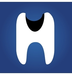 tooth dent flat icon isolated on a blue vector image
