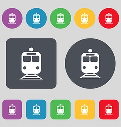 train icon sign A set of 12 colored buttons Flat vector image