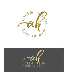 A h initials monogram logo design dry brush vector