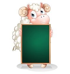 A shy sheep holding an empty blackboard vector