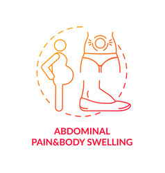 Abdominal pain and body swelling concept icon vector