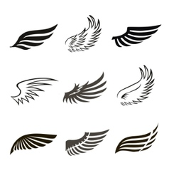 Abstract feather angel or bird wings icons set vector image