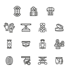 Accessories for longboards line icons set vector image