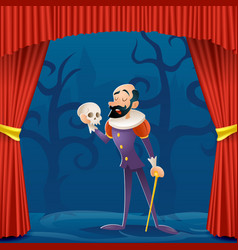 Actor man medieval suit tragic theater curtains vector