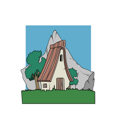 an alpine country house in front of a mountain vector image