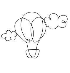 Balloon in clouds one line drawing vector
