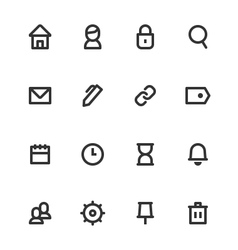 Basic UI Outline Icon Set vector image