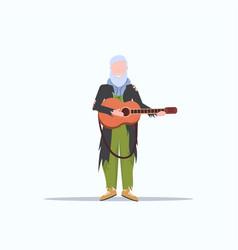 Bearded man beggar playing guitar tramp begging vector