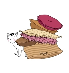 Beautiful pillows and cat on a white background vector image