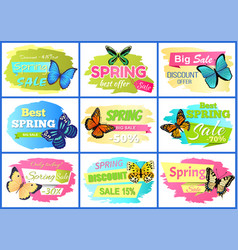 Best spring sale posters set vector