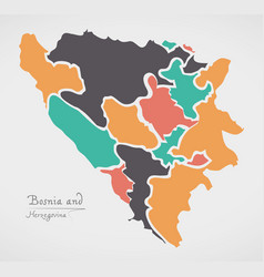 bosnia and herzegovina map with states vector image