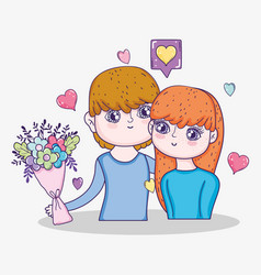 boy and girl with bouquet flowers and hearts vector image